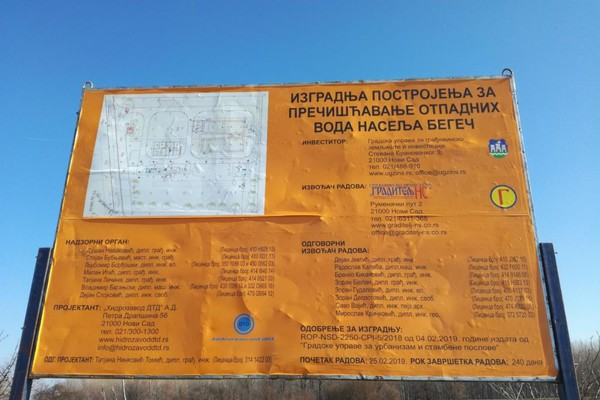 Počela izgradnja prečistača u Begeču, rok za završetak 240 dana