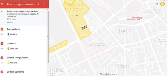 Objavljena Gugl Mapa Urbanistickih Planova Koji Su Na Javnom Uvidu